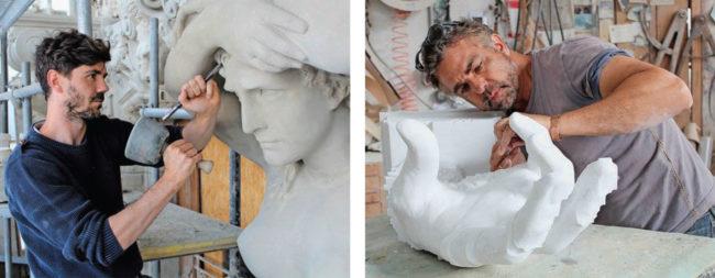 Les sculpteurs sur pierre soignent le patrimoine architectural